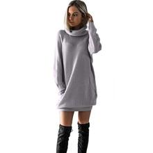 Прямая с фабрики, серое модное зимнее женское трикотажное платье с отложным воротником, платье-джемпер для девушек, подходящий размер