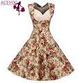 ACEVOG Vintage Elegant Women Dress V-Neck High Waist Big Bust Design Sleeveless Casual Patchwork Party Midi Pleated Swing Dress