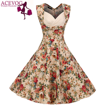 ACEVOG Vintage Elegant Women Dress V-Neck High Waist Big Bust Design Sleeveless Casual Patchwork Party Midi Pleated Swing Dress