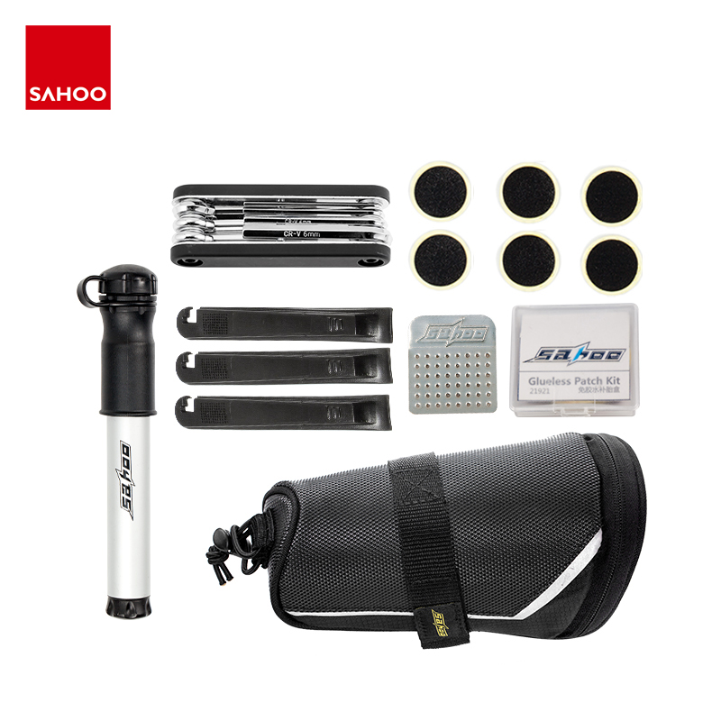 Sahoo 211242 Multi-function 7 in 1 Cycling <font><b>Bike</b></font> Bicycle Repair Tool Kit Set with <font><b>Saddle</b></font> Bag Air Pump Tire Lever <font><b>No</b></font>-glue Patch image