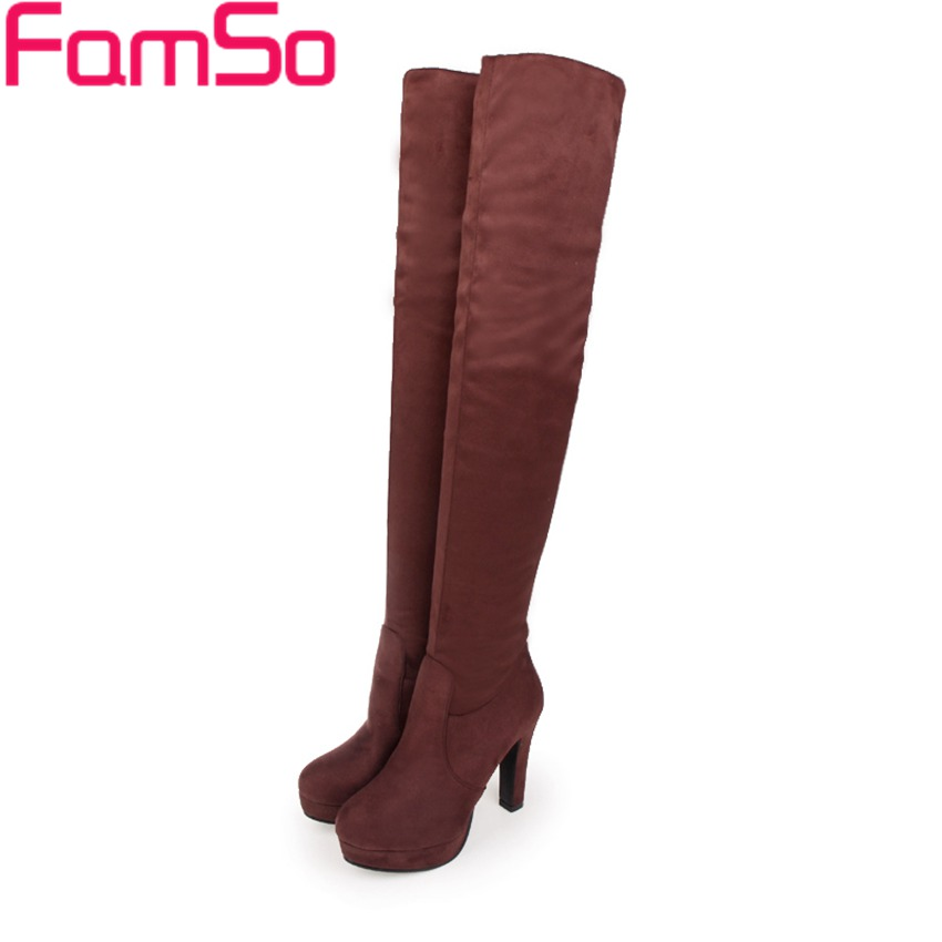 Plus Size 34 42 2016 New Mature High Heels Shoes Black brown Over the Knee Boots