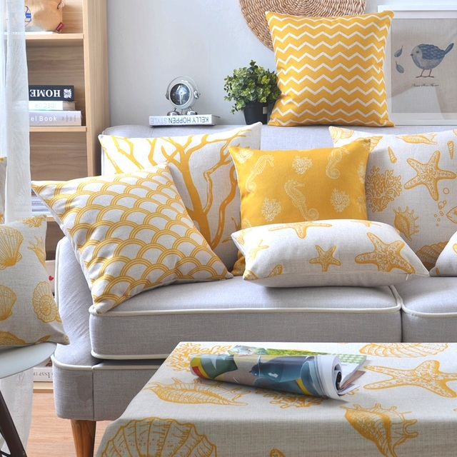 Yellow Starfish Sea Horse S Palm Tree Anchors Decorative Linen Throw Pillow Cover For Sofa Decoration