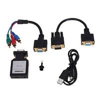 HDV M618 Mini HDMI To VGA Ypbpr SPDIF Audio Converter Adapter Mini HDMI to VGA+Ypbpr Switch Audio and 3.5 mm Black