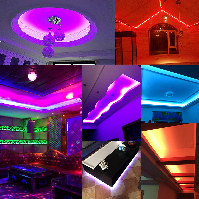 US $7 66 |RGB LED Strip Flexible Neon Lights SMD5050 Waterproof AC220V 240V  Holiday Lighting Party Living Room Home Decor DIY Xmas Light-in LED Strips
