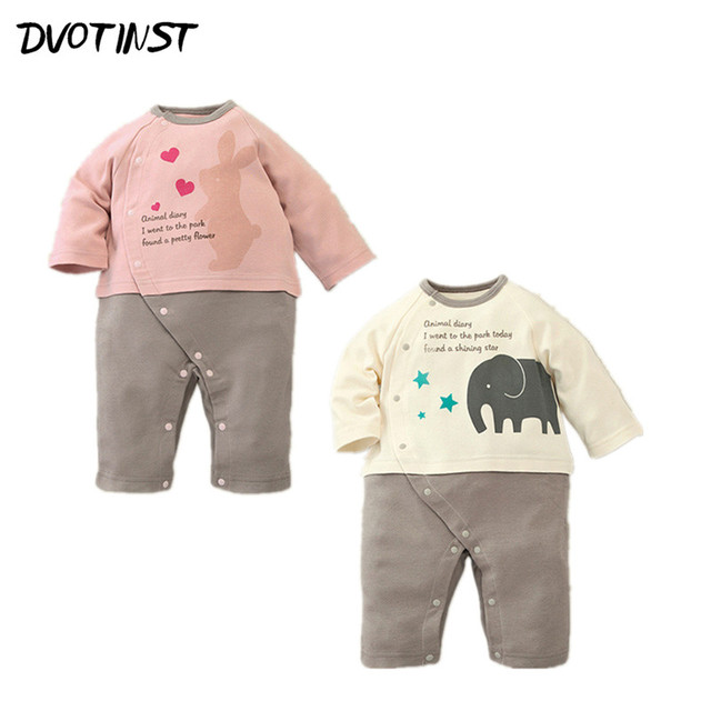 805854ad05946 Baby Boy Girl Clothes Autumn Long Sleeves Animals Elephant Rompers Jumpsuit  Outfit Infant Kids Toddler Cotton Clothing Costume