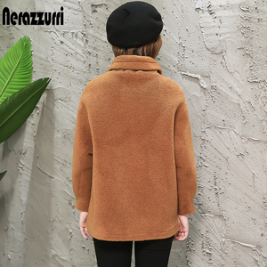 Image 2 - Nerazzurri womens sheepskin coats winter warm plus size plush faux fur coat regular beige lamb wool teddy bear jacket woman 5xl