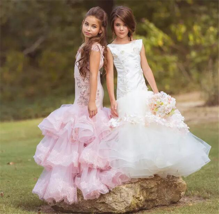 White Pink Flower Girl Dresses for Wedding Crystals Flowers Kids Dress for Wedding Pageant Dress Birthday Party Gown Custom Made blush pink two pieces kids prom birthday party pageant dress o neck satin lace flower girls dresses for wedding custom made gown