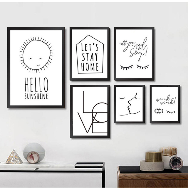 sans cadre moderne minimaliste noir blanc citation d 39 amour toile art print affiche mur photos. Black Bedroom Furniture Sets. Home Design Ideas