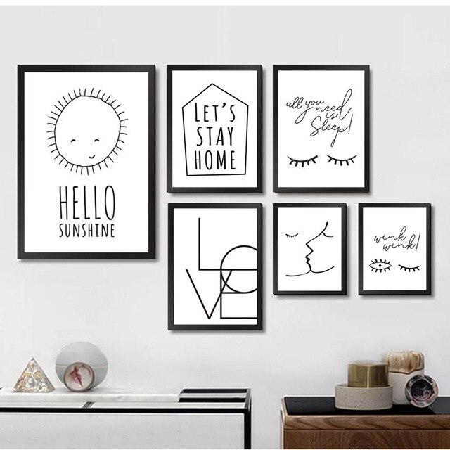 sans cadre moderne minimaliste noir blanc citation d 39 amour. Black Bedroom Furniture Sets. Home Design Ideas