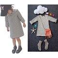 Nuevo Bebé de la Muchacha Cabritos del Vestido de Rayas de Otoño de Manga Larga de Algodón A Rayas Camiseta Top de La Moda y el Vestido