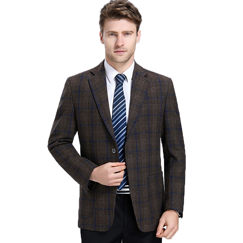 WAEOLSA Men Woollen Blends Blazers Classical Plaid Suits Jackets Man Wool Blazer Smart Casual Suit Coat Male Elegant Garment 3XL