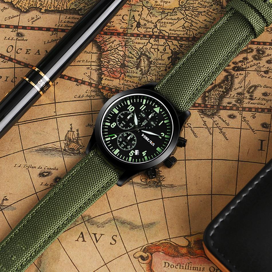 YISUYA Mens Watch Army Sport Analog Day Date Quartz Calendar Pilot Stylish Male Chronograph Aviator relogio masculino (1)