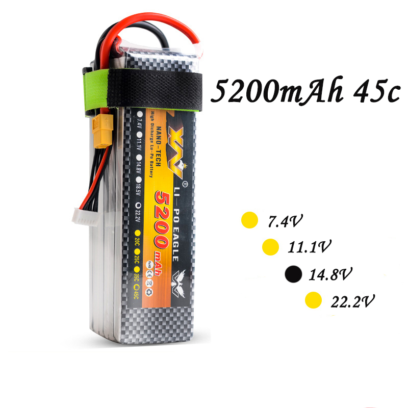 High Quality RC Battery 14.8V 5200mAh 35C 4S 11.1olt RC LiPo Li-Poly Battery for Helicopters Quadcopter RC drone kit 2pcs high quality 4s full 5400mah 14 8v 79 92wh replacement lipo battery for yuneec typhoon h drone rc quadcopter