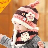 New Arrival Crochet Baby Hat Boys Girls Kids Winter Warm Caps Scarf Set Children Knitted Wool