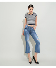 The new fashion 2016 summer micro flared trousers wide legged mid waist zipper fly ankle length