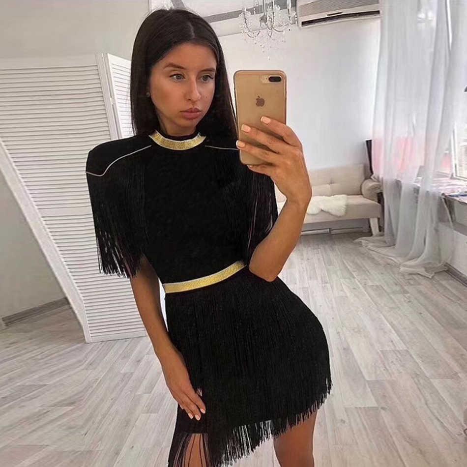 2019 חדש סתיו אלגנטי נשים שמלה סקסי אדום לבן שחור ציצית מועדון לילה סקסי מסיבת חג המולד שמלה סיטונאי