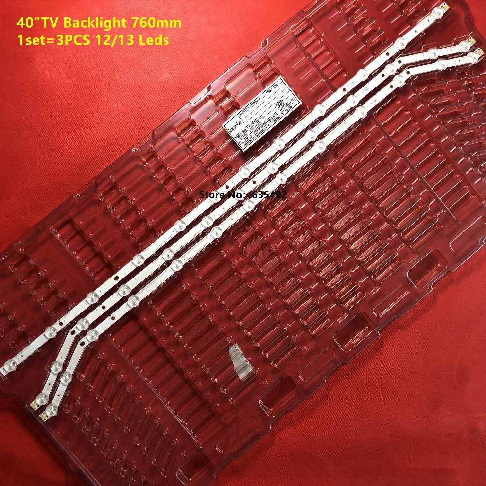 3 PCS 12//13LED 760mm LED strip for Samsung UN40H5203AF BN96-28766A BN96-28767A