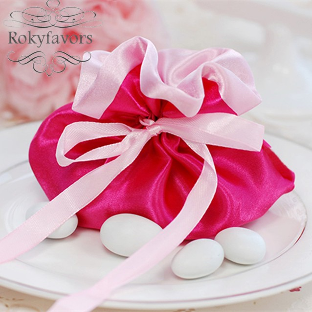 Free Shipping 100pcs Pudding Cerise Favor Candy Bags Wedding Favors