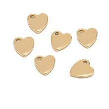 Пустые штамповочные бирки в форме сердца из нержавеющей стали, золотые плоские бусины, подвески в виде сердца, подвески, фурнитура для ювелирных изделий, индивидуальный тег