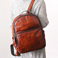 Original novo das mulheres dos homens mochilas de couro feitos à mão do vintage lenços homens e mulheres mochila bolsa de ombro feminino de couro curtido