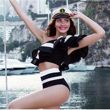 High Waist Swimsuit Women One Piece Swimwear Shoulder Off Retro Vintage Bodysuit Sexy Jumpsuit Fashion Beach wear