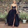 Gótico preto sexy 2 peças formal evening party dress curto tanque com Saias de Tule Longas High Side Dividir O Chão Prom Vestidos