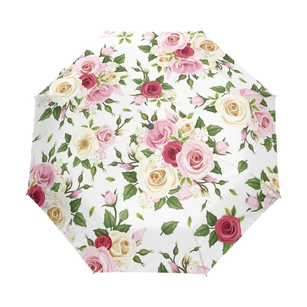 Beautiful Automatic Three Folding Rose Umbrella Rain Women Windproof Paraguas Anti UV Sunny And Rainy Umbrella for Girl Gift