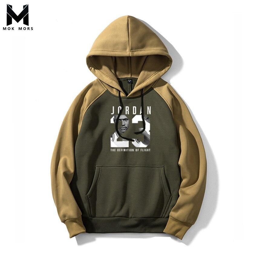 Men Hoodies Joker Sweatshirts Long-Sleeve Print Winter High-Street Cotton Fashion Jogger