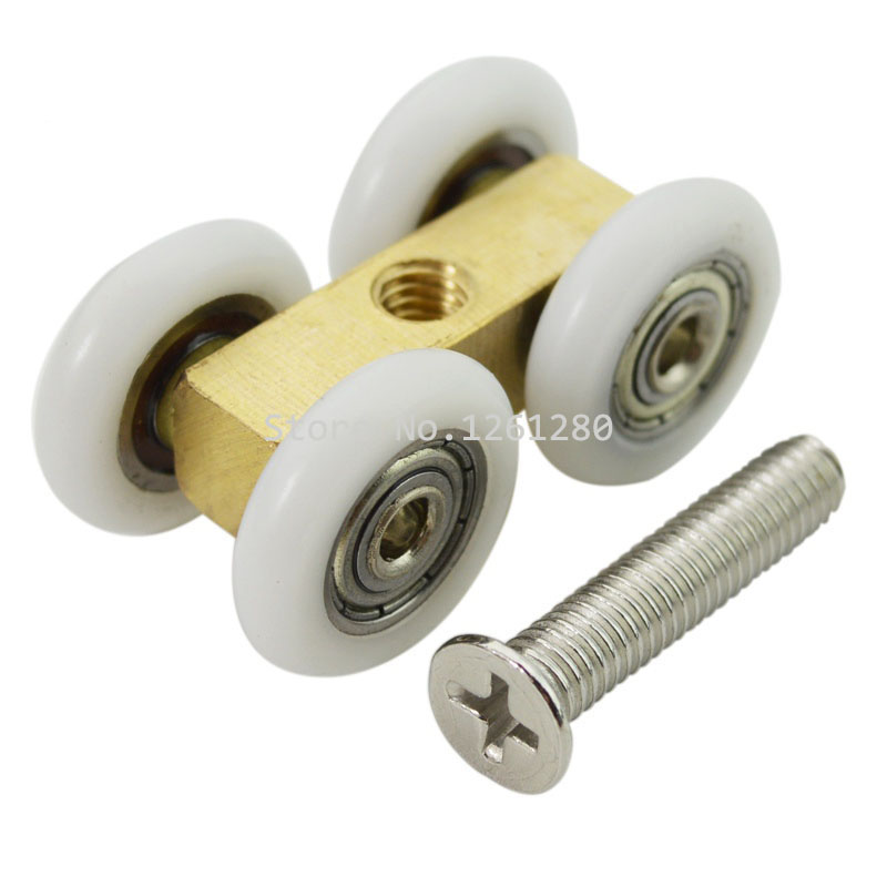 shower room door roller ultra-quiet wooden window sliding door pulley hanging rail track nylon wheel glass door hardware part