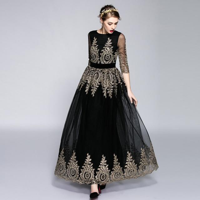 Hoge kwaliteit mode vrouwen in de herfst van 2016 ran maxi jurk zwart gaas gouddraad borduurwerk bloem lange jurk