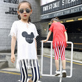 2016 British Suit Girls New Summer Tassel Two Piece Mickey Clothing Children's Clothes