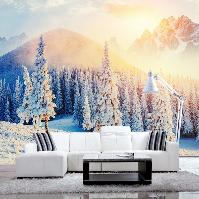 3d custom wallpaper Nordic beautiful scenery snowy mountains wall mural living room bedroom TV background wallpaper home decor custom mural wallpaper creative space forest path 3d wall sticker wallpaper modern living room bedroom door mural pvc home decor