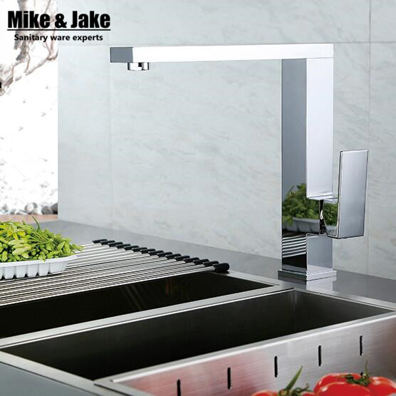 360 rotating Chrome square kitchen faucets square brass sink kitchen mixer water tap Brass Kitchen Faucet