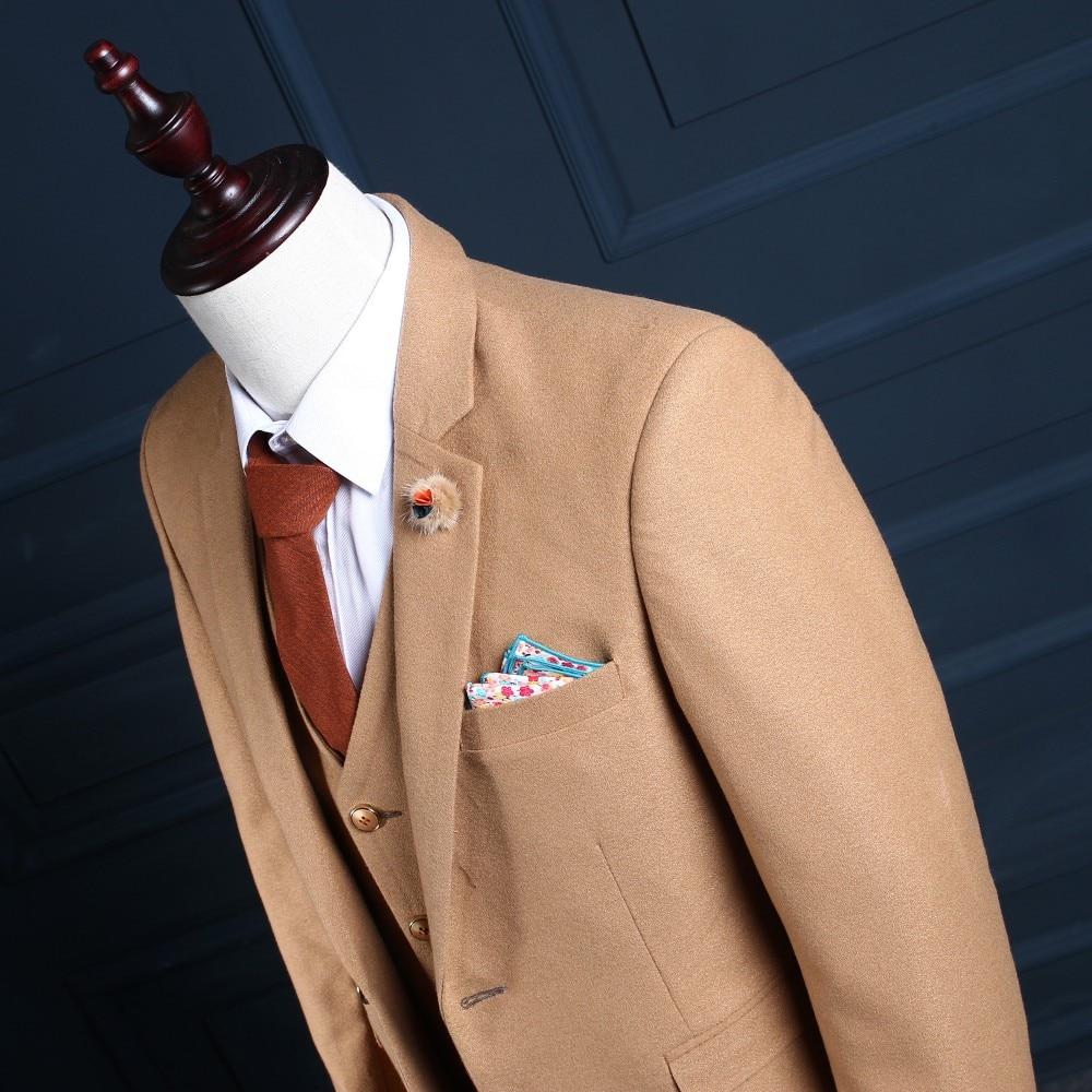 2017 Tailor Made Slim Fit Suits For Men Brown Herringbone