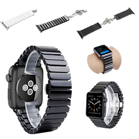 38mm 42mm Ceramic Watch Band for Apple Watch Bands Series 1 2 3 Link Bracelet Butterfly Buckle Strap For iwatch