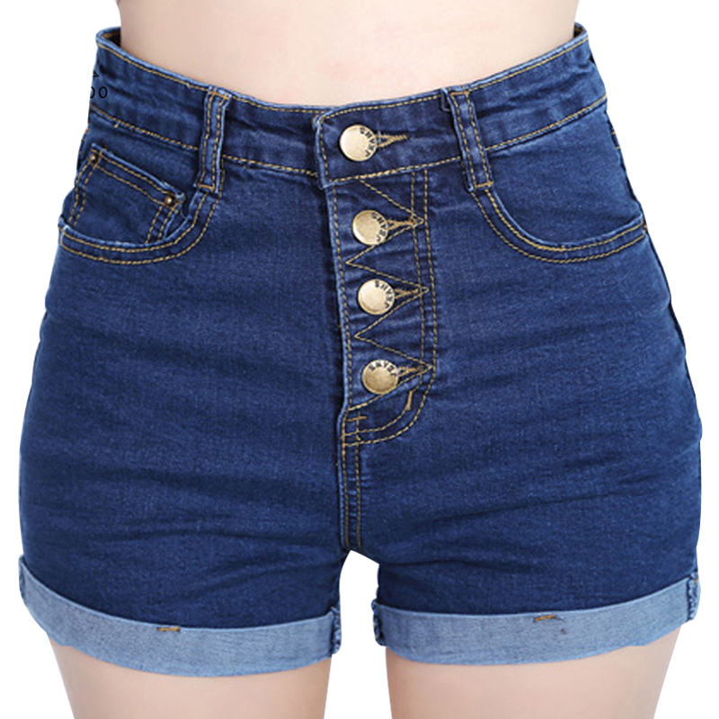 2017 new 4 buttons elastic high waist shorts women denim shorts summer loose short femme plus. Black Bedroom Furniture Sets. Home Design Ideas