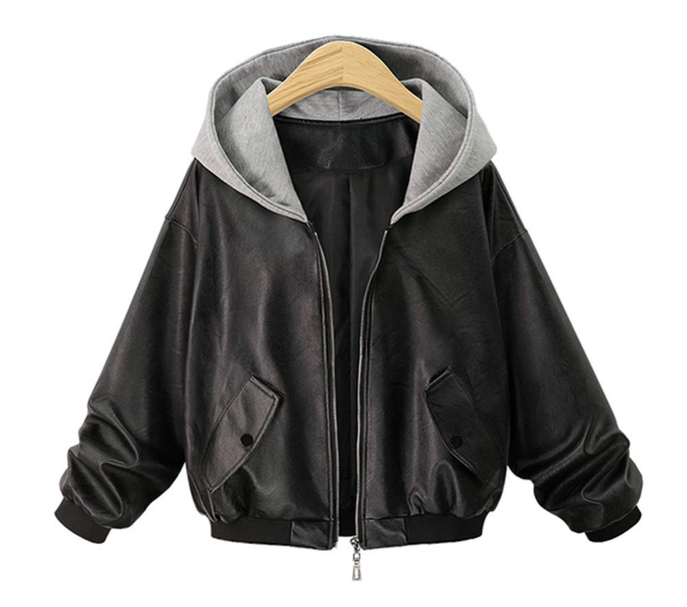 Hitmebox 2018 Autumn Winter New Women Black Faux Leather Jacket Casual Loose Patchwork Hooded Oversized Hoodies Coats Outerwears