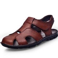 Sommer Outdoor-Beach Casual Sandalen Männer Schuh-beleg auf Wohnungen Haken Schleife Gummi botto männer Qualität Ersten Leder Zapatos alias