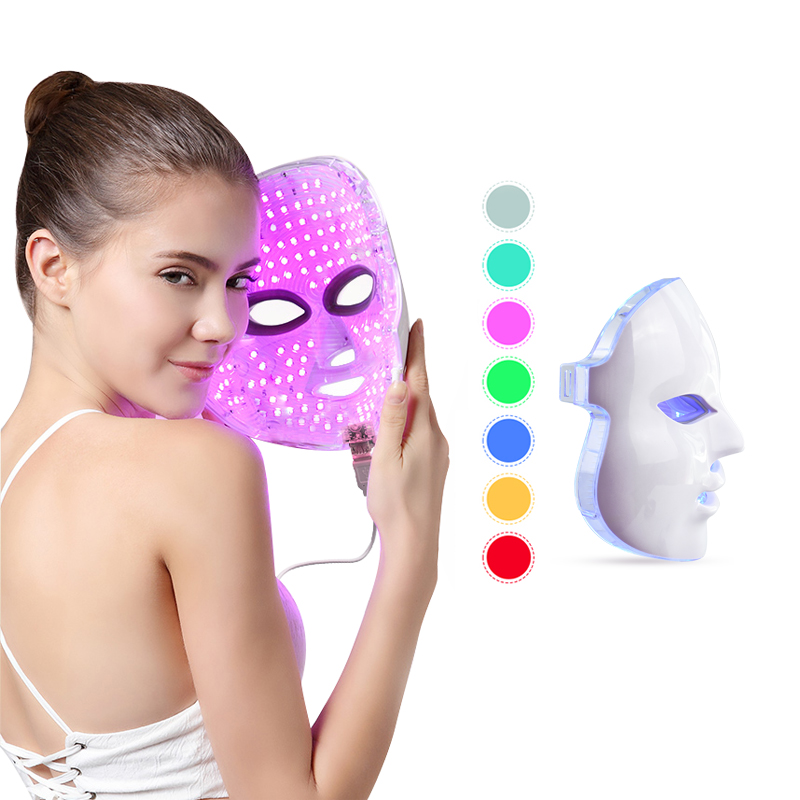 LED Facial Mask Photon Light Therapy 7 Colors Light Treatment Face Mask Skin Care Rejuvenation Anti Wrinkle Acne Beauty Massager new 3 color led light therapy face mask skin care photon rejuvenation acne remover beauty face skin care tools red green blue