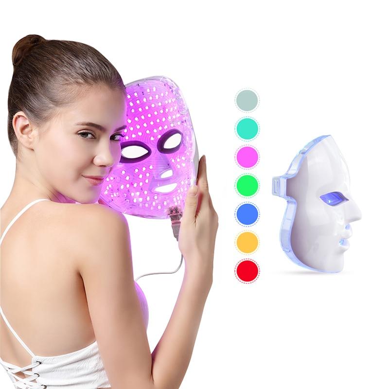 LED Facial Mask Photon Light Therapy 7 Colors Light Treatment Face Mask Skin Care Rejuvenation Anti Wrinkle Acne Beauty Massager цена