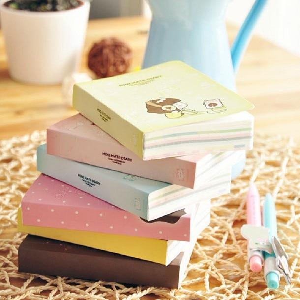 Cookie Girl Mini Journal Notebook Planner Cute Pocket Notepad Study Memo Free Note