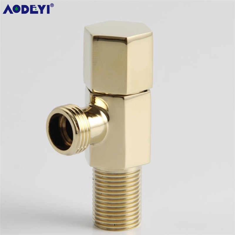 """AODEYI Válvula de ángulo 304 Acero inoxidable 1/2 """"macho x 1/2"""" macho Válvula de bidé de baño accesorios de baño acabado negro dorado 11-053B"""