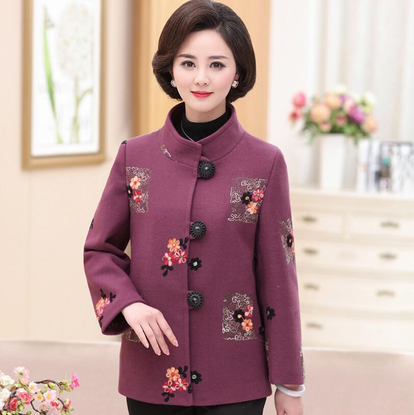 2018 automne moyen âge femmes laine mélange manteau élégant broderie à manches longues manteau mode grande taille vêtements pour femmes r340