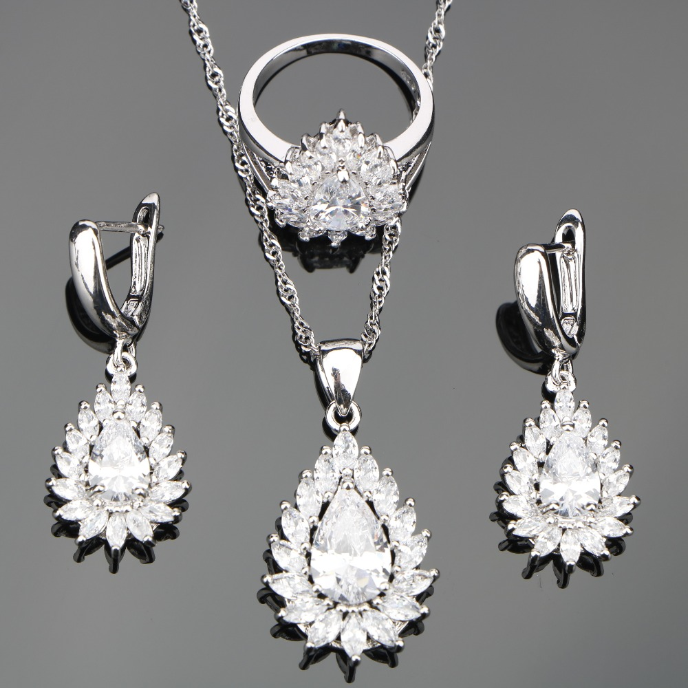 Wedding Silver 925 Costume Jewelry Sets Women White Zirconia Set of Earrings Rings Necklace Pendant Stones Jewelery Gift Box