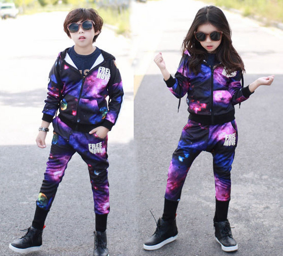 Wholesale 2016 Fashion Autumn Casual Sport Suits Tracksuits For Kids Purple Starry Printing Hip Hop Outwear Boys Clothing Sets 2017 spring autumn children s clothing set boy purple starry sky print costume kids sport suits hip hop harem pants