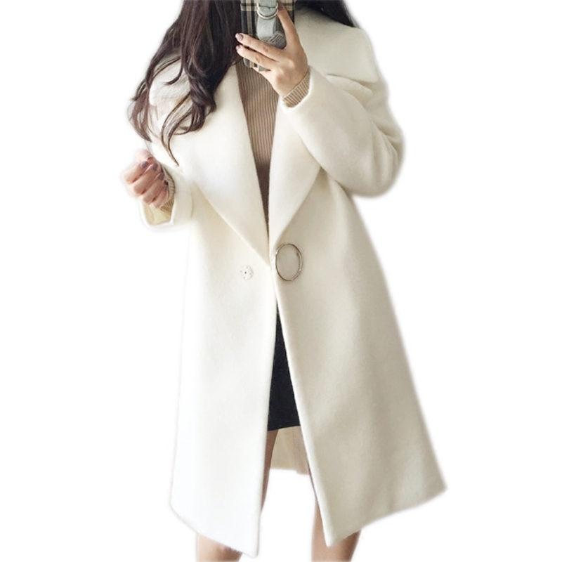 2018 White Wool Blend Coat Women Lapel Long Parka Winter Jacket Cocoon Style Elegant Woolen Coat Thicken Female Outerwear 1652