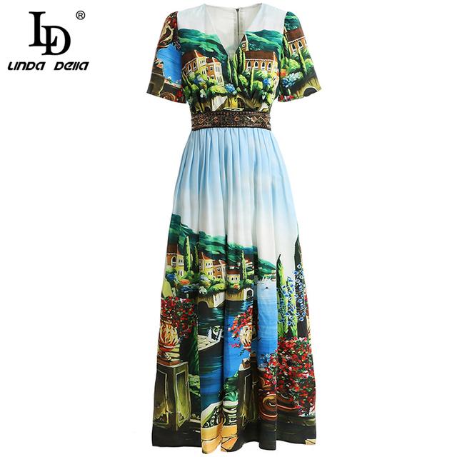 Fashion Spring Summer Dress Women's V-Neck Sequined Floral Printed Elegant Vintage Party Long Collect Waist Dress