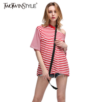 TWOTWINSTYLE 2017 Summer Women Off Shoulder Striped T Shirts Tops Short Sleeves Tee Oversized Big Size Casual Clothes Korean New