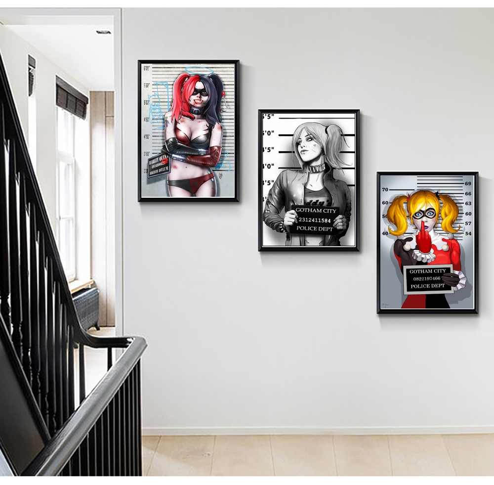 Harley Quinn Super Heroes Superheroes Mugshots Funny Movie Poster Art Wall  Canvas Prints Canvas Art Oil Paintings No Frame
