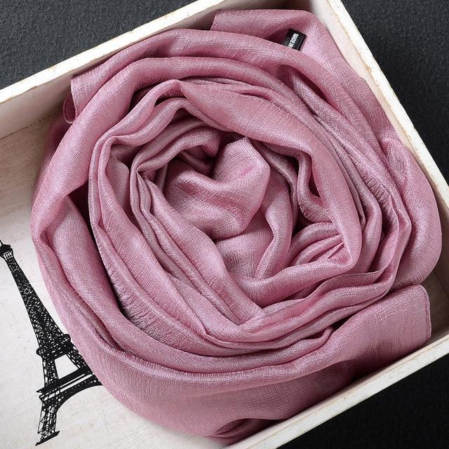 2020 Khăn Lụa Nữ Cotton Khăn Voan Chắc Chắn Foulard Femme Khăn Choàng Len Lụa Dây Đầu Khăn Hijab Khăn Choàng Bãi Biển Đuôi Nơ